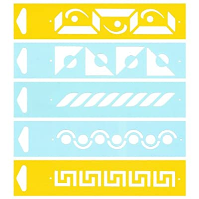 (Satz von 5) 17cm x 4cm Flexibel Kunststoff Universal Schablone - Textil Kuchen Wand Airbrush Möbel Dekor Dekorative Muster Torte Design Technisches Zeichnen Zeichenschablone Wandschablone Kuchenschablone - Flechten Band Kreis Labyrinth