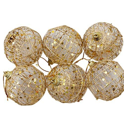 Kofun 6 Teile/Satz Weihnachtsbaum Glitter Pailletten Aushöhlen Goldkugeln Anhänger Eisendraht Hängende Ornamente mit Seil Home Party Supplies Dekorationen 6 cm (Gold-bett-satz)