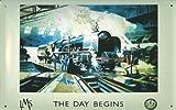Blechschild Nostalgieschild Eisenbahn England Lokomotive The Day Begins Schild