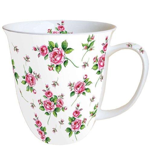 Ambiente Becher - Mug - Tasse - Tee / Kaffee Becher ca. 0,4L Evelyn White - Blumen - Rosen - Ideal Als Geschenk (White Tasse Rose)