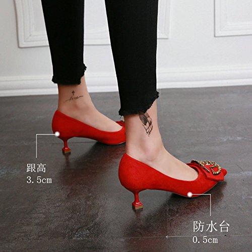 KHSKX-Il Matrimonio Di Scarpe Femminili Rosso Inverno Scarpe Scamosciate Fibbia Di Metallo Punte Con Riscontro Superficiale Bocca Bene Con Il Gatto Con Gli Stivali 35 Red