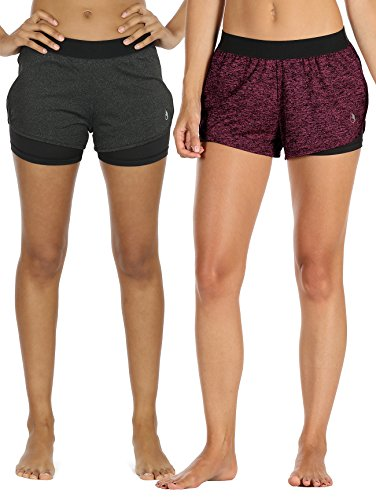 icyzone Damen Sport Shorts Kurze Hosen Sporthose - 2 in 1 Laufshorts Fitness Yoga Hot Pants (XL, Black Heather/Rose)