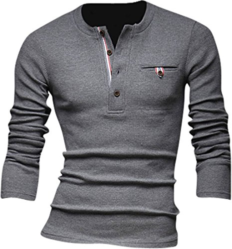 Jeansian Hommes Pull Tendance Chemise Slim Fit Men Fashion Manches Longues Sweater 8832 gray