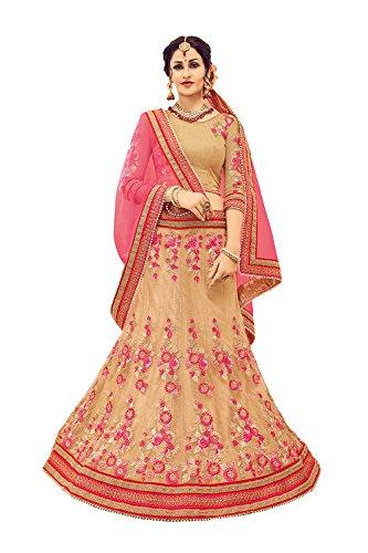 Fashions Biz Indian Designer Partywear Ethnic Traditional Beige Lehenga Choli in Beige Butterfly Net Designer Bollywood Saris