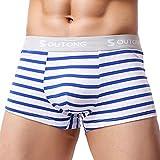 Qmber Breathable Slip, Herren Sexy Unterwäsche Streifen Boxer Höschen Shorts Taschen Höschen Streifen Sommer Comfort Shorts (Blau, L)