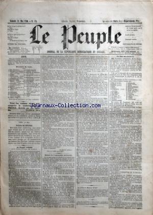 PEUPLE (LE) [No 174] du 12/05/1849 - BULLETIN DE VOTE - BAC - BOLCHOT - CABET - CHARRASSIN - CONSIDERANT - D'ALTON SHEE - DEMAY - GENILLEZ - GREPPO - HERVE - HIZAY - LAGRANGE - LAMENNAIS - LANGLOIS - LEBON - LEDRU-ROLLILN - LEROUX - MADIER DE MONTJAU - MALARMET - MONTAGNE - PERDIGUIER - PROUDHON - PYAT - RATIER - RIBEYROLLES - SAVARY - THORE ET VIDAL - LE PEUPLE ROMAIN AUX ELECTEURS DE PARIS - SEANCE DE L'ASSEMBL