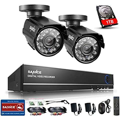 [Mejorado 900TVL HD] SANNCE® Kit de 2 Cámaras de Vigilancia Seguridad (Onvif H.264 CCTV DVR P2P 4CH AHD 960H y 2 Camaras 900TVL IP66 Impermeable, 4.6MM, IR-Cut, Visión Nocturna Hasta 20-30M, Exterior y Interior, HDMI, 24 LEDs Seguridad Kit) - 1TB Disco Duro