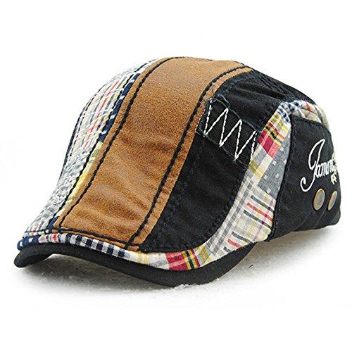 Schirmmütze Kappe Unisex Mütze Stickerei Tioamy Damen Herren Mütze Flatcap Sportmütze Newsboy Cap Beret Cap Cabbie Cap