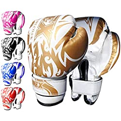 ONEX Enfants Gants de Boxe Junior Gants MMA Sport d'entraînement Cuir synthétique Boxing Gloves 6oz (Gold)