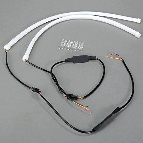 Preisvergleich Produktbild 2 pcs LED Auto Strip Streifen Tagfahrlicht DRL weiche Tube - 45cm - weiß gelb