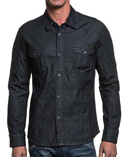 BLZ jeans - Herren-Hemd mit dunkelblauen Jeans Mode Rippen Blau