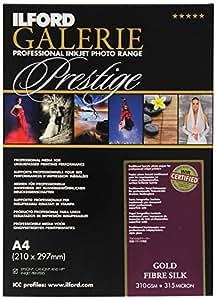 Ilford Galerie Prestige Gold Fibre Silk Lot de 50feuilles de papier photographique, 310g, A4