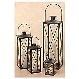 Laterne, Windlicht Farol 4er-Set in schwarz aus Eisen/Glas, Höhe ca. 23 cm, 36 cm, 50 cm und 70 cm
