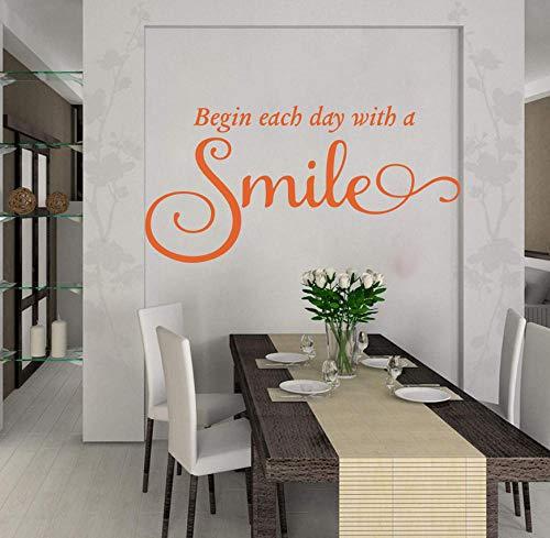 ZJfong 85x43cm Beginnen Sie jeden Tag mit einem Lächeln Wandtattoo Küche Schlafzimmer Inspirierend Bibel Vers Wandaufkleber Kinderzimmer Kinderzimmer Vinyl-b