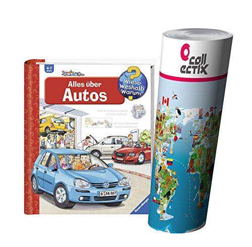 Ravensburger Kinder Sachbuch Wieso? Weshalb? Warum? | Alles über Autos + Kinder Weltkarte Poster by Collectix (Buch über Autos Für Kinder)