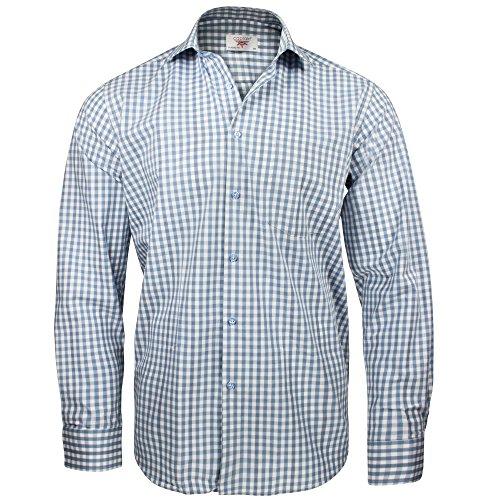 Captain Classic Fit Herren Hemden (in 24 Verschiedenen Farben) Langarm-Hemd 100% Baumwolle (XL, Hellblau (Kariert))