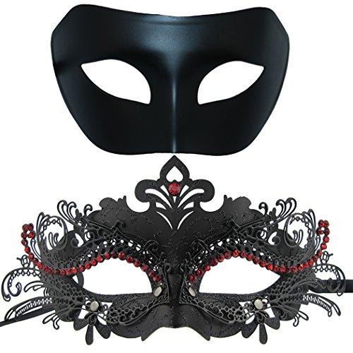 Thmyo Máscara de Metal de la Mascarada de Pareja, Máscara de Fiesta de Disfraces de Halloween de Rhinestone Brillante Veneciano (Paquete de 2) (Negro y Negro-Rojo)