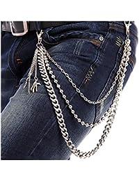 Schlüsselkette Geldbörsen Kette Spiral Kette schwarz Hosenkette mit Karabiener