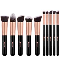 BESTOPE 10 Stück Professionelle Makeup Pinsel Lackierter Echtholzstiel Synthetisches Haar Pinselset Anzüge für Berufsverfassungs oder Ausgangsgebrauch mit Aufbewahrungstasche  Von BESTOPE