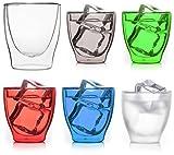 HAPPY-SET: 6x 80ml doppelwandige farbige Espresso-Gläser * 1x Transparent + 5x Farben sortiert * edler Glasmix von Feelino für Espresso, Grappa, Likör, Schnaps...