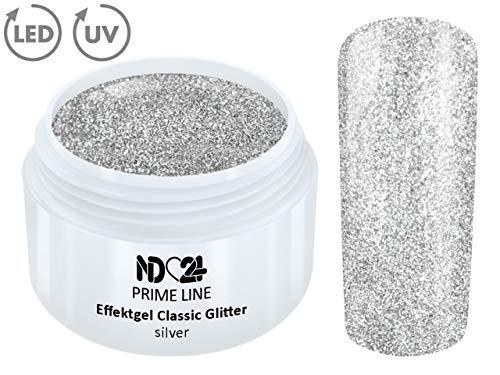 5ML - PRIME LINE - UV LED GEL GLITTER SILVER Glitzer Farbgel Effekt Color Nail Art Modellage Silber - MADE IN GERMANY