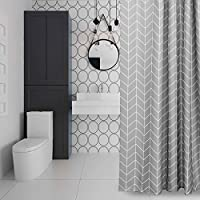 Eurcross Geometric Pattern Grey Shower Curtain For Bathroom,Water Repellant  Anti Mould Extra Wide/
