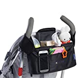 MONSTAR Stroller Organiser & Bottle and Diaper Bag - Universal Fit Stroller Storage Accessories and Portable Stroller Bag with Cup Holders Insulated