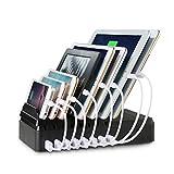 Chargeurs Et Stations De Charge Best Deals - Station de Charge,Upow Chargeur 8-Port USB[68W / 2.4A Max] avec Organisateur de Fil Chargement Direct Intelligent et Rapide pour les Portables et les Tablettes