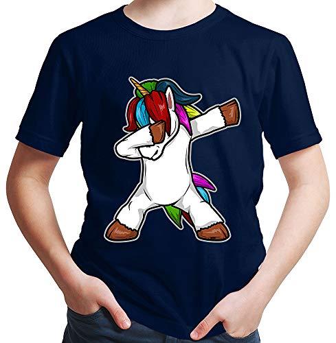 HARIZ  Jungen T-Shirt Dab Einhorn Dab Teenager Dance Halloween Plus Geschenkkarten Deep Navy Blau 116/5-6 Jahre