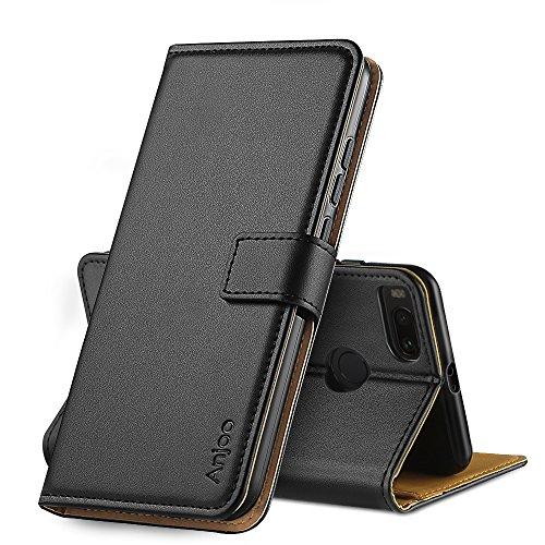 Anjoo Kompatibel für Xiaomi Mi 5X/ Xiaomi Mi A1 Hülle, Handyhülle für Xiaomi Mi 5X/A1 Schutzhülle, Tasche Leder Flip Case Brieftasche Etui mit Kartenfach und Ständer für Xiaomi Mi 5X/A1 (Schwarz)