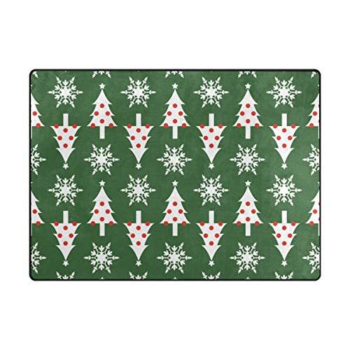 MALPLENA Malpela Fußmatte mit Weihnachtsbaum, grüner Hintergrund, Fußmatte, Fußmatte, Fußmatte, Fußmatte, Schuhe, für Wohnzimmer/Esszimmer/Schlafzimmer/Küche, Rutschfest, Polyester, 1, 80 x 58 inch