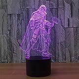 Lámpara 3D Warrior interfaz USB toque control remoto ilusión luz nocturna lámpara de cabecera ajustable a 7 colores regalo para niños