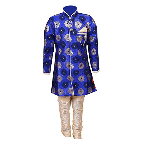 Ahhaaaa Kids Ethnic Indo-Western Cotton Silk Festive and Party Wear Sherwani and Breeches Set for Boys_BLU356-0