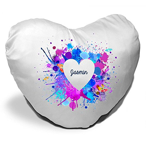Herzkissen mit Namen Jasmin und schönem Motiv mit Wasserfarben-Herz zum Valentinstag - Herzkissen personalisiert Kuschelkissen Schmusekissen 3