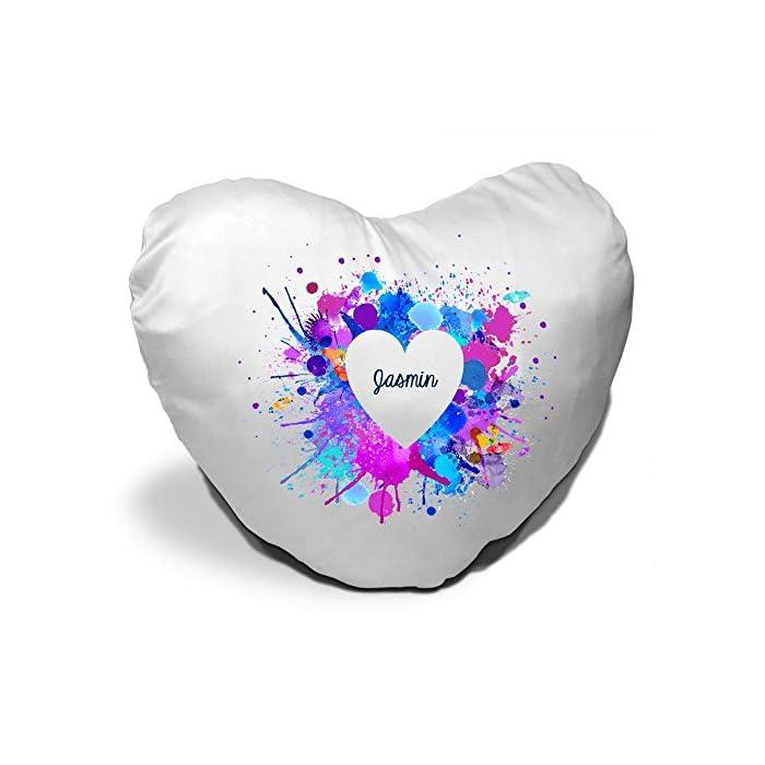 Herzkissen mit Namen Jasmin und schönem Motiv mit Wasserfarben-Herz zum Valentinstag - Herzkissen personalisiert Kuschelkissen Schmusekissen 1