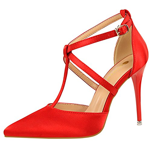 Oasap Women's Fashion Pointed Toe Cross Buckle Stiletto Sandals Red