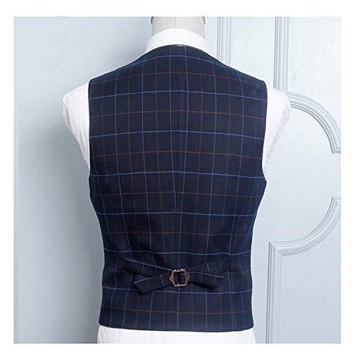 Linyuan Men's Slim Fit Business Lattice Casual Jacket Tuxedo Vest Suit Waistcoat Black