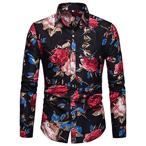 Herren Art-langärmliges Blumen Hemd Shirt (Small, Schwarz) - Für Blumen-shirt Männer
