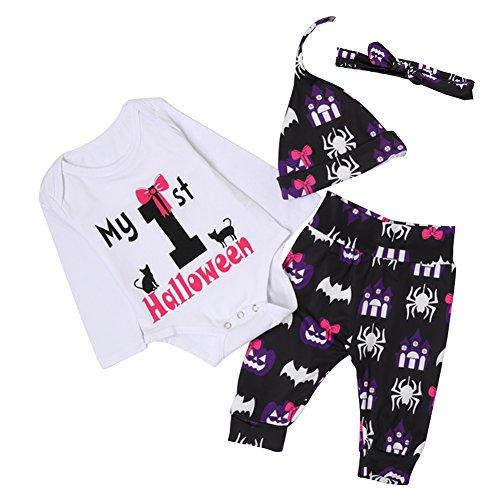 Baby Mädchen Spider Briefe Grafiken gedruckten Halloween Romper Anzug Outfit lange Set Langarm Body Hose mit Hut (Meine Erste Halloween-outfit)
