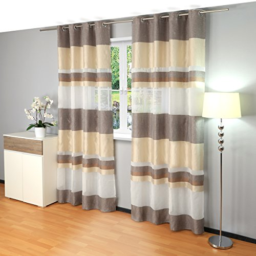 Gräfenstayn Ösenvorhang / Dekoschal Stripe 140x245 cm – halbtransparent – Vorhang Gardine Voile Batist (Braun / Beige)