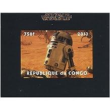 Star Wars sello - R2-D2 hoja imperforado - condición excelente y nuevo con goma original - 2013 / Congo / 750F