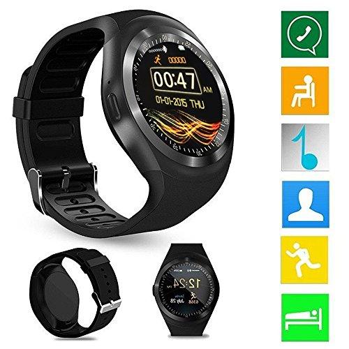 Smart Watch Phone Y1 Bluetooth 3.0 Smart Watch HD IPS Pantalla táctil redonda Reloj con teléfono celular Soporte SIM & Tf Tarjeta desbloqueada Reloj celular con pantalla de 1.54 pulgadas SmartWatch Sleep Monitor remoto para iPhone Android