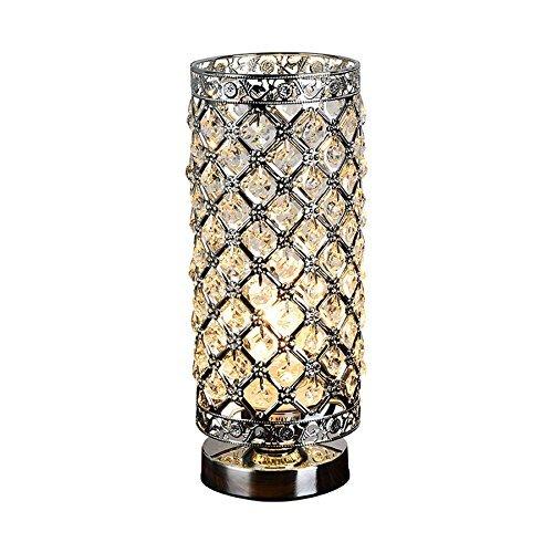 DIDIDD Kristalltischlampe moderne Artkristallschreibtischlampe e27 28 cm hohe elegante Kristalllicht kompakte Entwurfslampen verwendbar für Schlafzimmerwohnzimmer-Esszimmersilber - Kompakt-leuchtstofflampen-dimmer-schalter