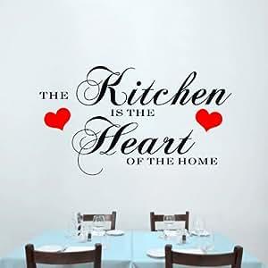 Wand Aufkleber schützt das Gerät calcomanies großen Aufkleber 23,6 Zoll *39.3 grand Wandaufkleber kitcheh schwarz-rot für die Küche ist das Herz des Hauses Dekoration im so genannten art
