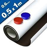 Foglio metallico bianco opaco adhesivo - 0,6mm x 50cm x 100cm - con eccellenti proprietà recettive ai materiali magnetici