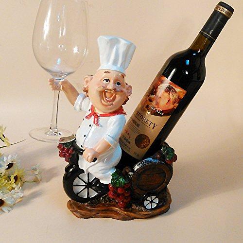 JIUJIA Happy Chef Westlichart Luxus-Wein Ideen hängen Cup Halter Ornament Figur Harz Handwerk, 20 * 13 * 31cm