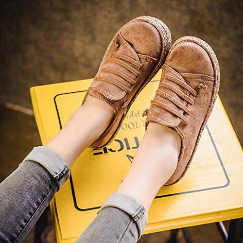 Yinew Damen Casual Scrub Schuhe Bequeme Faulen Schuhe Low Top Sneaker Damen Freizeit Schuhe Brau 39
