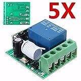 ILS - 5 pezzi Interruttore 315MHz DC12V 10A 1CH singolo canale wireless relè RF Remote Control modulo ricevitore