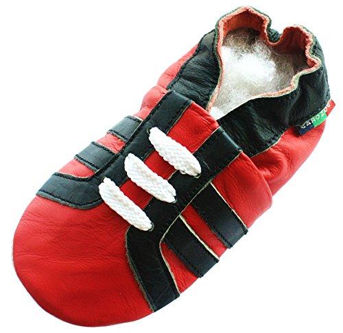 Carozoo Sports Black Red S Cuir Semelle Souple Chaussures Enfants