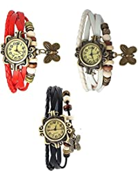 RTimes Red, White and Black Vintage Designer Leather Set of 3 Multicolor Bracelet Butterfly Watch for Girls, Women